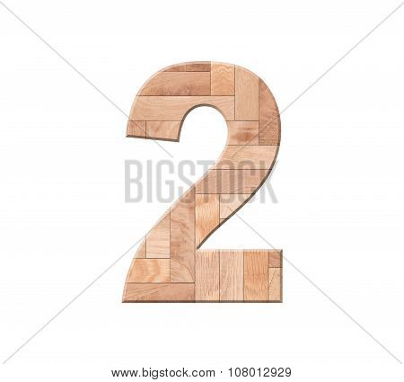 Wooden Parquet Of Digit One Symbol - 2. Isolated On White Background