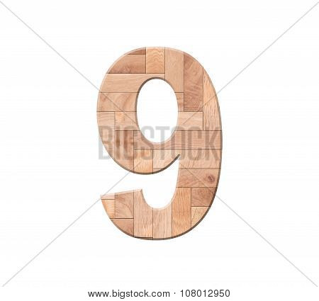 Wooden Parquet Of Digit One Symbol - 9. Isolated On White Background