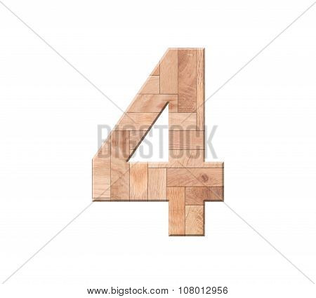 Wooden Parquet Of Digit One Symbol - 4. Isolated On White Background