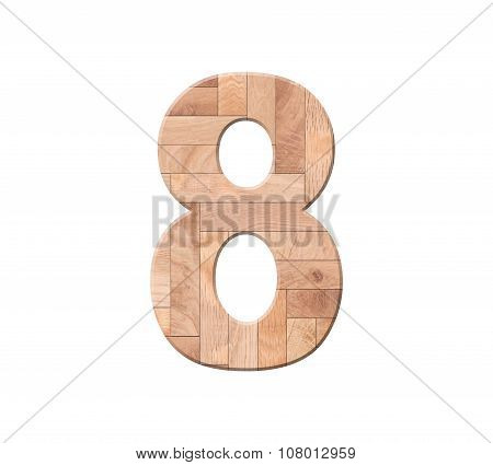 Wooden Parquet Of Digit One Symbol - 8. Isolated On White Background