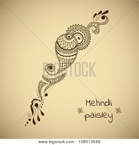 Vector ornament in indian style. Mehndi ornamental paisley. Hand drawn ethnic pattern