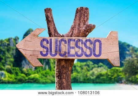 Success (in Portuguese) arrow with beach background