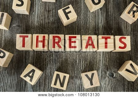 Wooden Blocks with the text: Threats