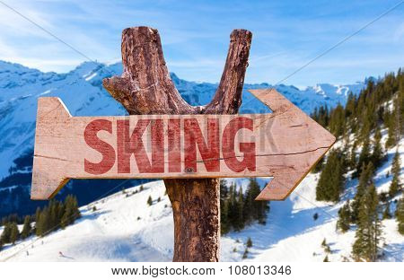 Skiing arrow with winter background