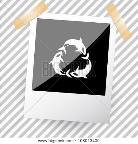 killer whale as recycling symbol. Photoframe. Raster icon.