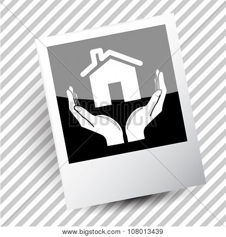 home in hands. Photoframe. Raster icon.