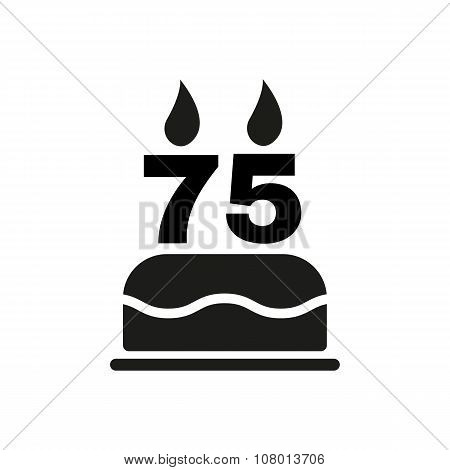The birthday cake with candles in the form of number 75 icon. Birthday symbol. Flat
