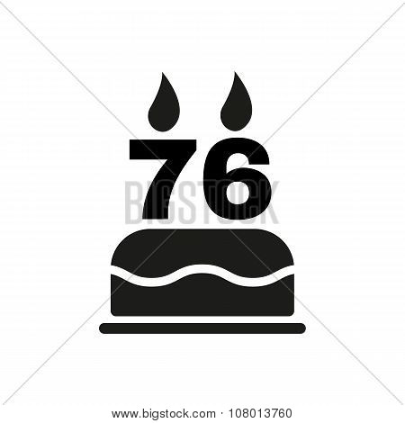 The birthday cake with candles in the form of number 76 icon. Birthday symbol. Flat