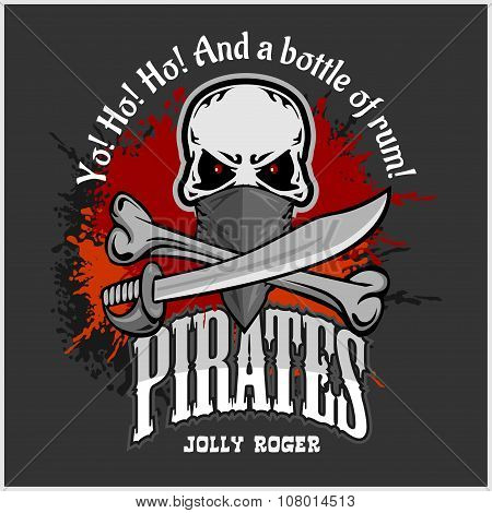 Skull in pirate hat - Jolly Roger