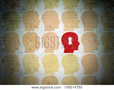 Education concept: head with keyhole icon on Digital Paper background