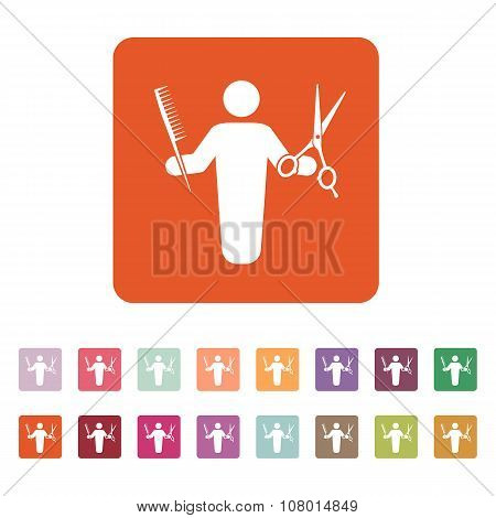 The barber avatar icon. Barbershop and hairdresser, haircutter symbol. Flat