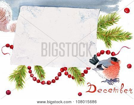 Watercolor Christmas Card With Bullfinch And Place For Text