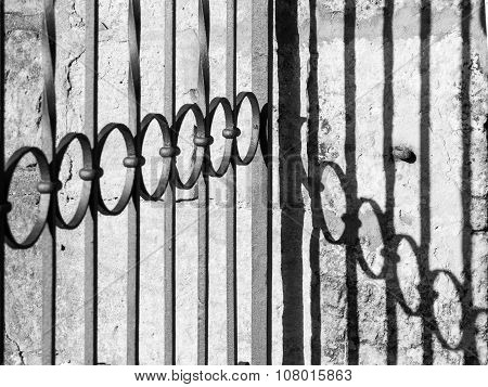 Detailed view of wrought-iron gate