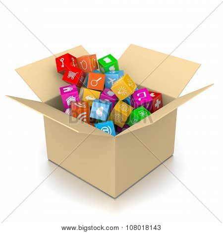 Cardboard Box Filled With App Icons