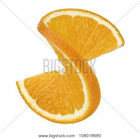 Orange Twisted Slice 2 Isolated On White Background
