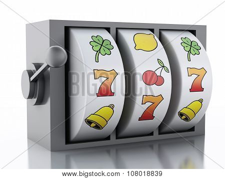 3D Slot Machine. Casino Concept.