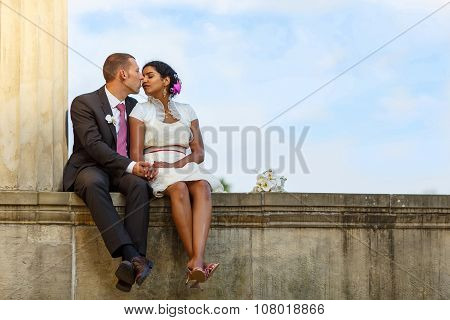 Beautiful Indian Bride And Caucasian Groom After Wedding Ceremon