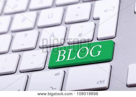 Aluminium Keyboard With Blog Word On Green Key