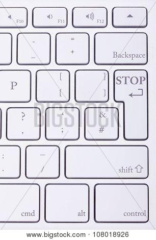 Stop Word Written On Standard Keyboard