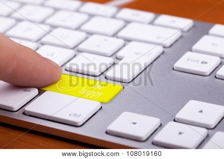 Men Pressing On Be Happy Word On Keyboard