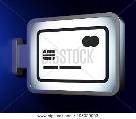Business concept: Credit Card on billboard background
