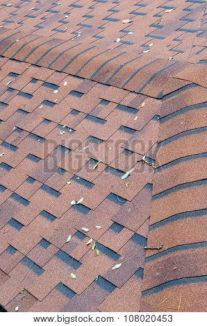 Top View Of Brown Roof Shingles
