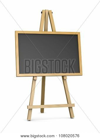 Wooden Easel Supporting An Empty Blackboard