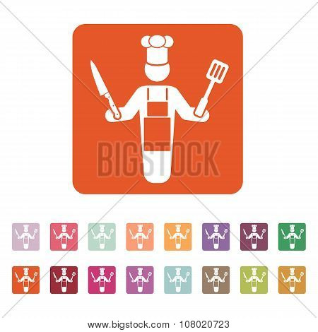 The cook icon. Chef and barbecue, restaurant symbol. Flat