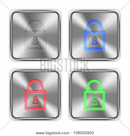 Color Locked Padlock Steel Buttons
