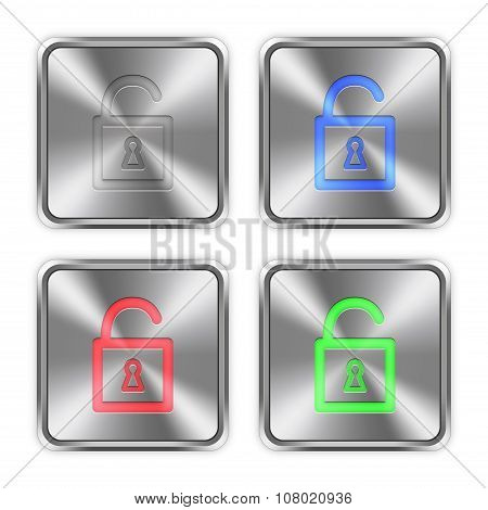 Color Unlocked Padlock Steel Buttons