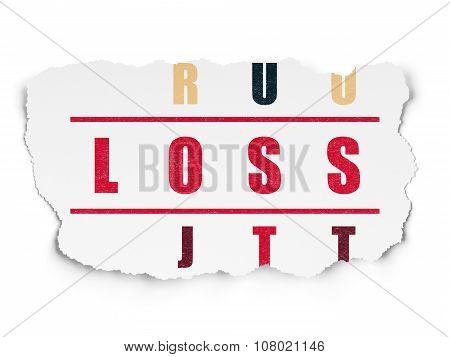 Finance concept: Loss in Crossword Puzzle