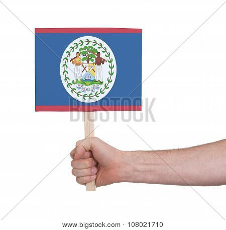 Hand Holding Small Card - Flag Of Belize
