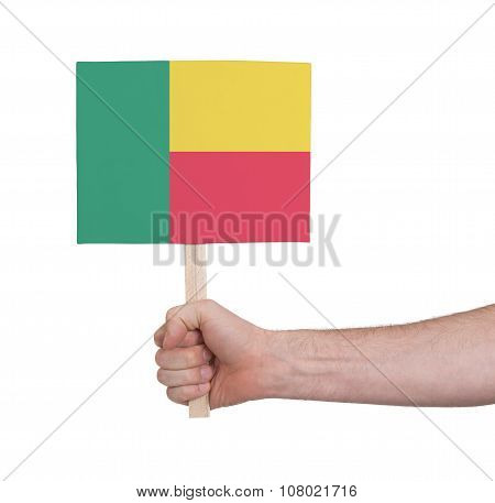 Hand Holding Small Card - Flag Of Benin