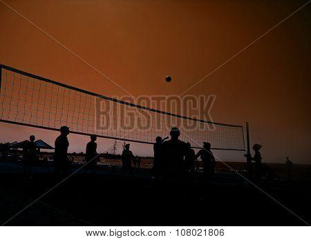 Beach Volleyball Silhouette