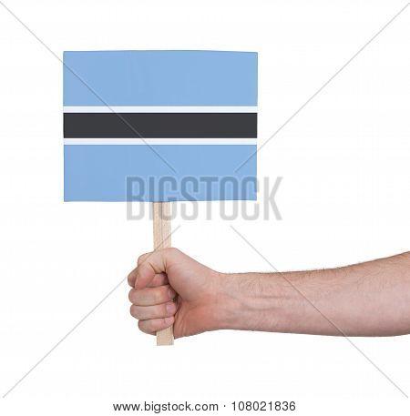 Hand Holding Small Card - Flag Of Botswana