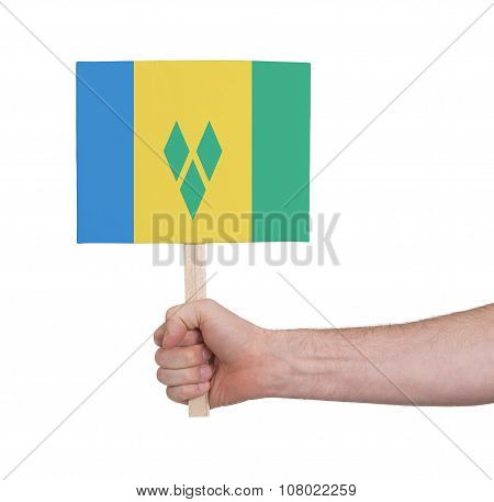 Hand Holding Small Card - Flag Of Saint Vincent And The Grenadines
