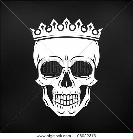 Skull King Crown design element. Vintage Royal illustration in medieval style. Dark Kingdom insignia