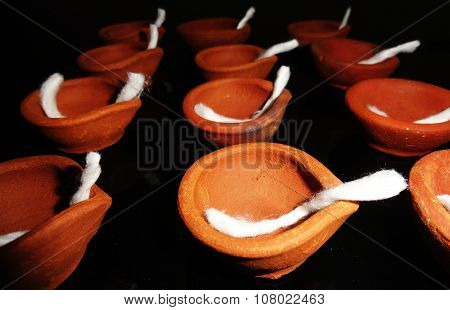Traditional Clay Diyas during Diwali Celebration in India
