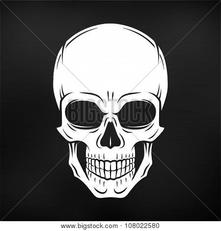 Human evil skull vector. Jolly Roger logo template on black background. death t-shirt design. Pirate
