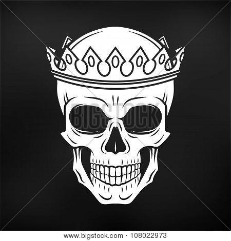 Skull King Crown design element on black background. Vintage Royal t-shirt illustration. Dark skelet