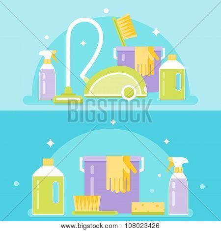 Household Cleaning Agents, Tools and Devices. Cleaning Service Vector Illustration