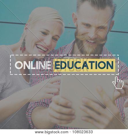 Online Education Knowledge Wisdom Communication Connection Concept