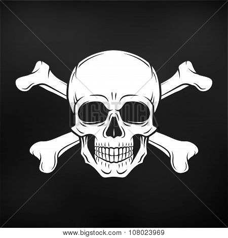 Human evil skull vector. Jolly Roger with crossbones logo template. death t-shirt design on black ba