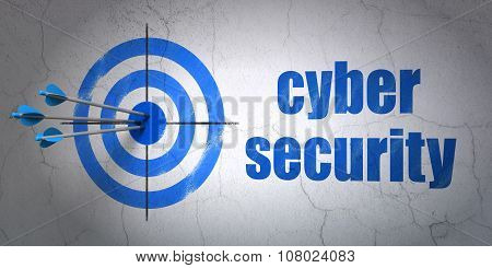 Security concept: target and Cyber Security on wall background