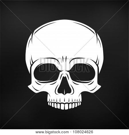 Human evil skull vector. Jolly Roger logo template. death t-shirt design. Pirate insignia concept. P