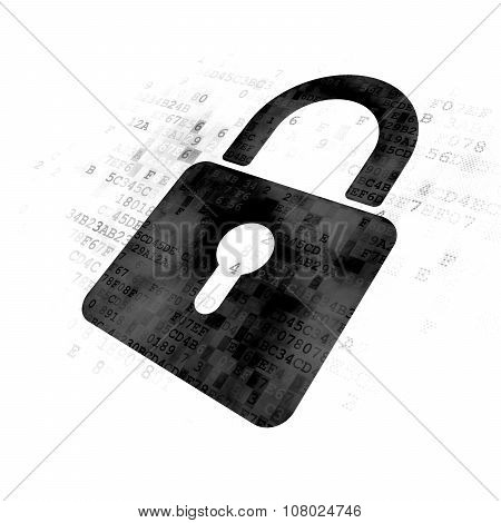 Data concept: Closed Padlock on Digital background