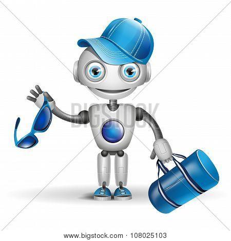 Vector cute robot sportsman