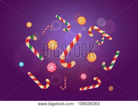 Set Of Christmas Candy Stickers On The Violet Background. Vector Illustration