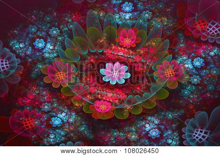 Illustration Background Fractal Bright  Fields Of Flowers