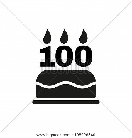 The birthday cake with candles in the form of number 100 icon. Birthday symbol. Flat